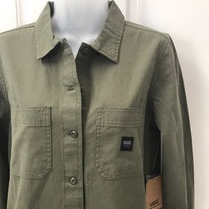 NEW w/Tag-VANS Army Green Button Broadway Dress S